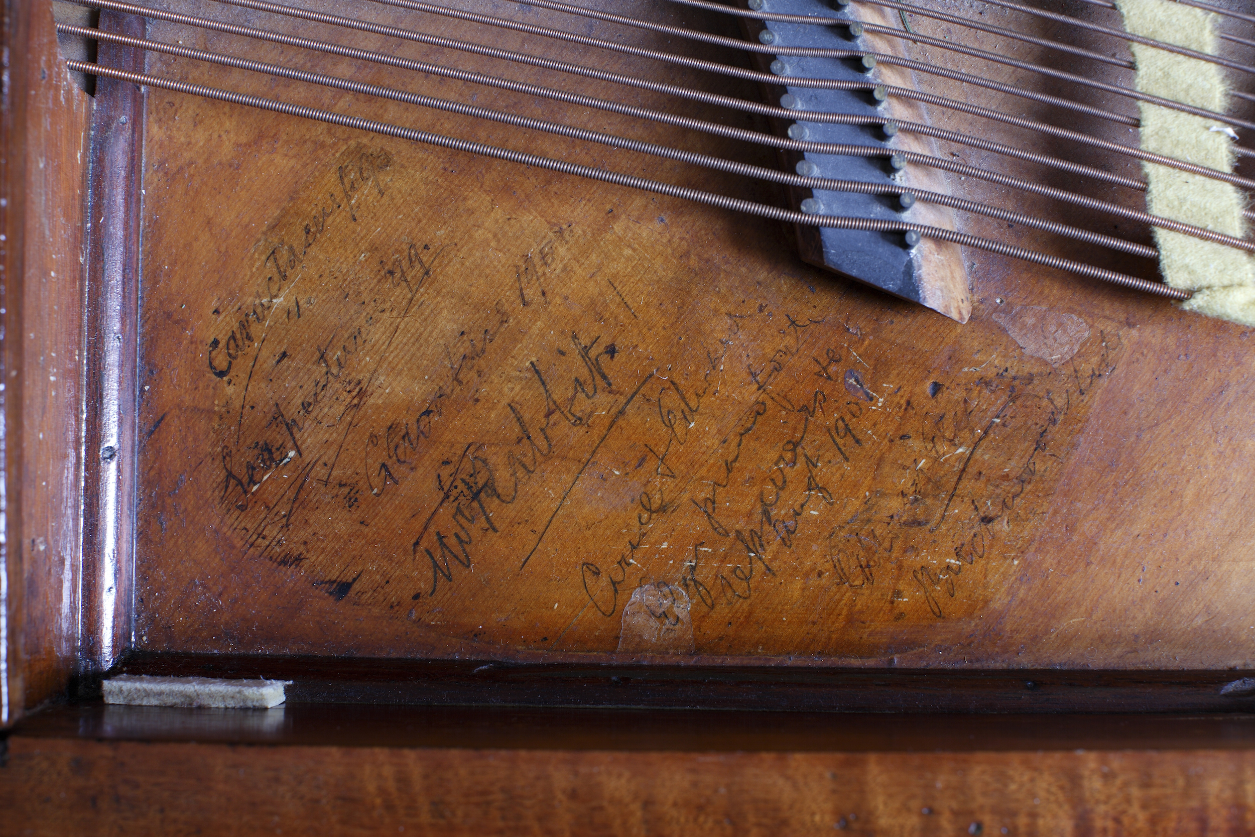 Elgar's square piano by John Broadwood and Sons, inscription