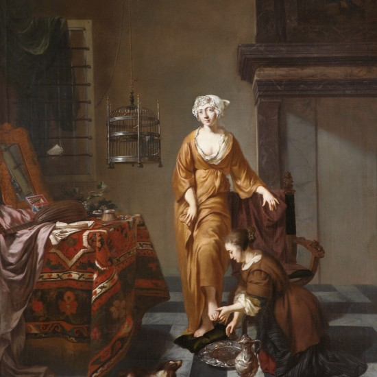 Johannes Voorhout – A Lady in an Interior, with a Servant Washing her Foot