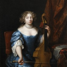 Caspar Netscher - Portrait of a Lady playing a Viola da Gamba