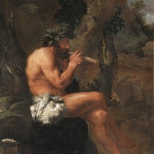 Pier Francesco Mola - Pan playing his Pipes in a wooded Clearing attended by a Dog and a Goat