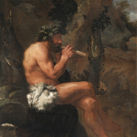 Pier Francesco Mola – Pan playing his Pipes in a wooded Clearing attended by a Dog and a Goat