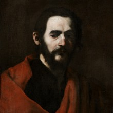 Jusepe de Ribera - Head of a Bearded Man in a Red Cloak, a study for St James of Compostella