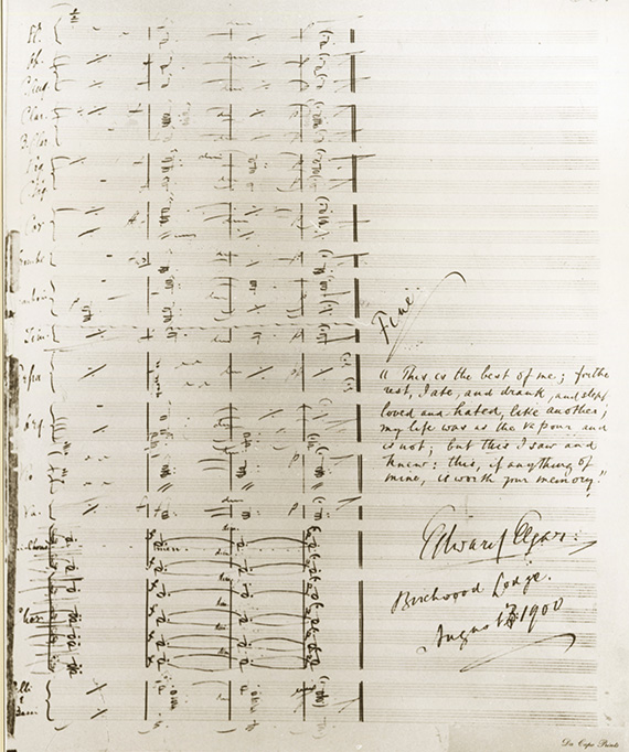 The final page of Elgar's full scoring for The Dream of Gerontius with his quotation from Ruskin