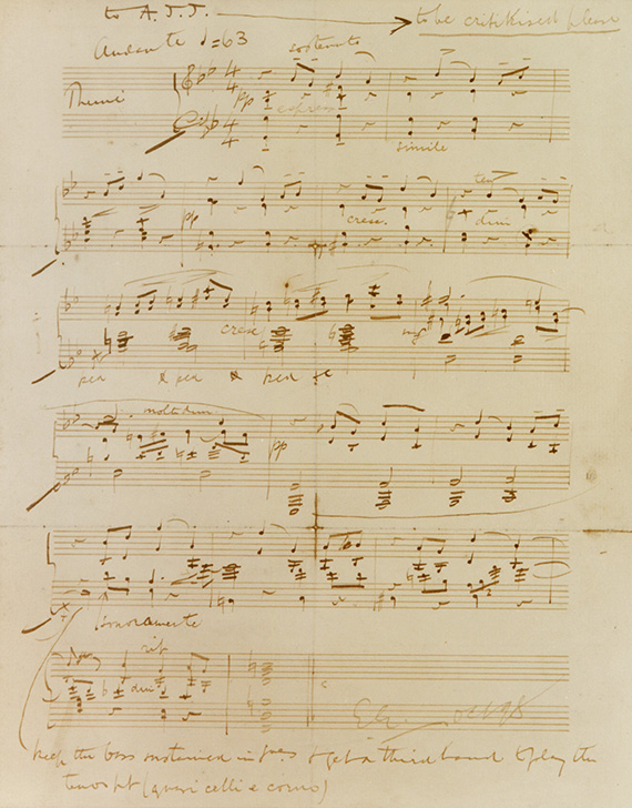 Elgar's manuscript for the theme of The Enigma Variations in piano scoring