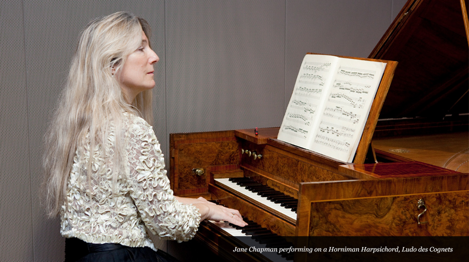 Jane Chapman performing on a Horniman Harpsichord